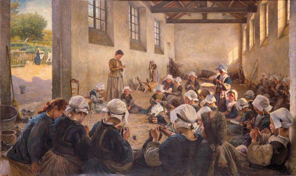 Richard Hall (1860-1942), La classe manuelle. École de petites filles, 1890, huile sur toile, musée des beaux-arts de Rennes.