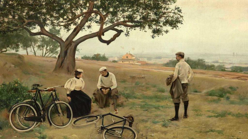 Ramon Casas (1866-1932), El descanso de los ciclistas (Le repos des cyclistes), 1886, huile sur toile.