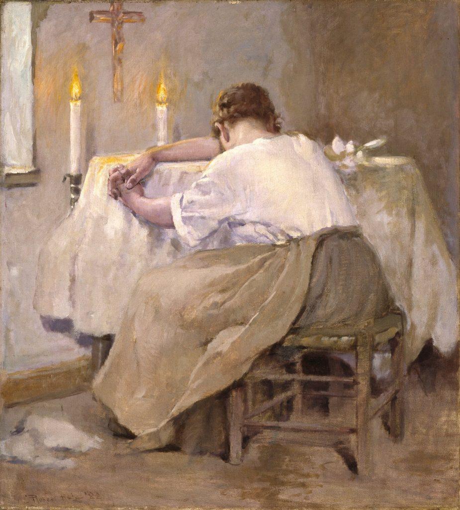 Robert Lewis Reid (1862–1929), Her first born (Son premier né), 1888, huile sur toile, Brooklyn Museum.