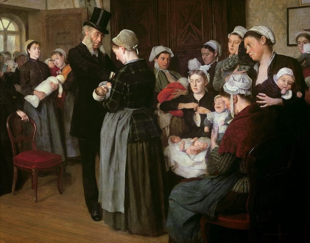 Jose Frappa (1854-1904), Le bureau des nourrices, huile sur toile.
