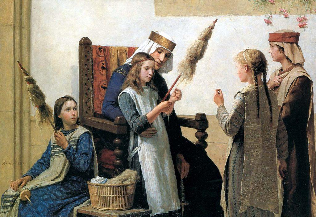 Albert Anker (1831-1910), La Reine Berthe et les fileuses, 1888, huile sur toile, Musée cantonal des beaux-arts de Lausanne.