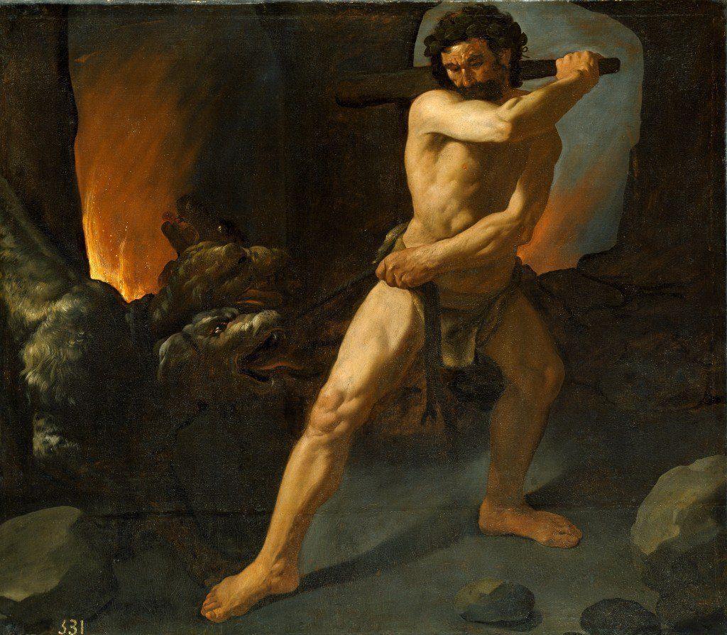 Francisco de Zurbaran (1598-1664), Hercule et le Cerbère, 1634, huile sur toile, musée du Prado.