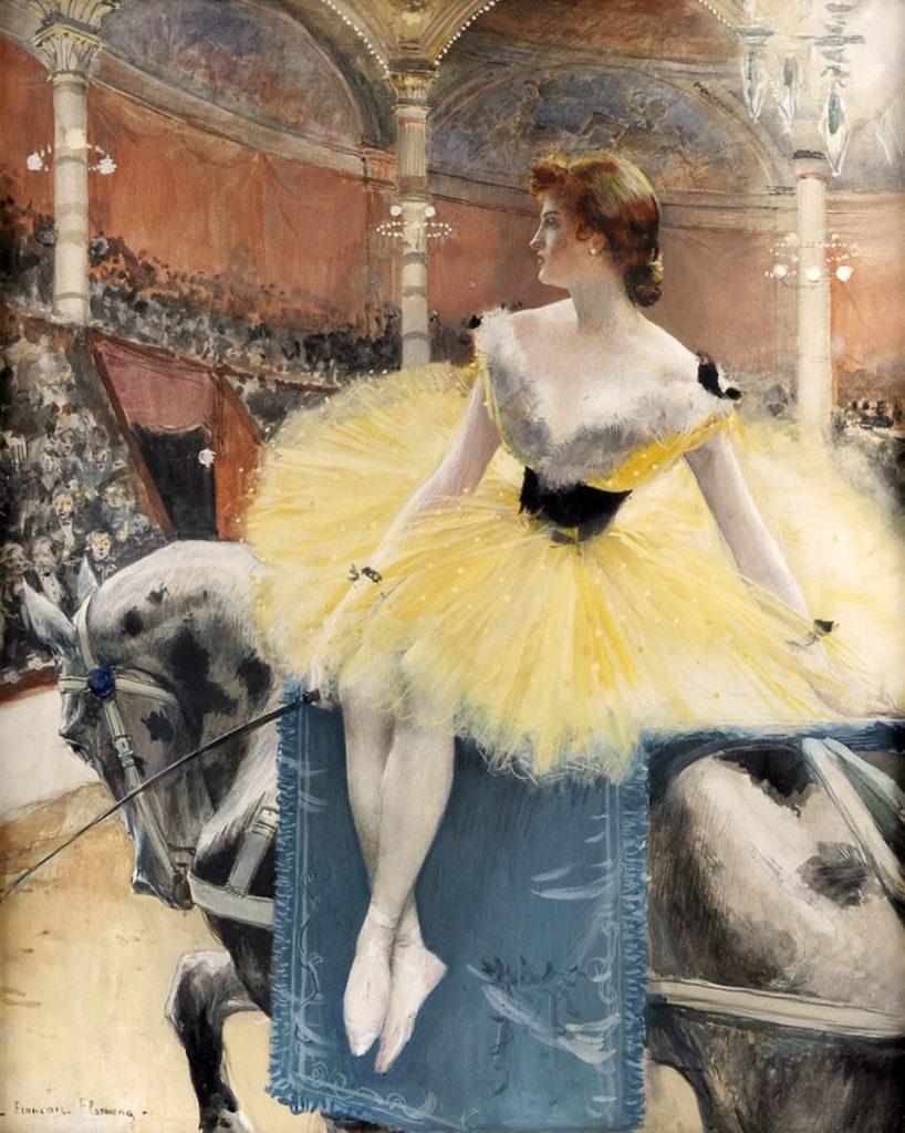 François Flameng (1856–1923), Equestrienne au cirque Fernando, 1890, huile sur toile, collection privée.