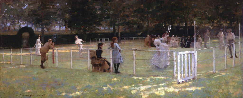 John Lavery (1856–1941), The tennis party, 1885, huile sur toile,City of Aberdeen Art Gallery.