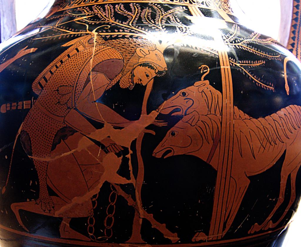 Héraclès et Cerbère, amphore de la région de l'Attique par Andokides, 530-520 av. J.-C.