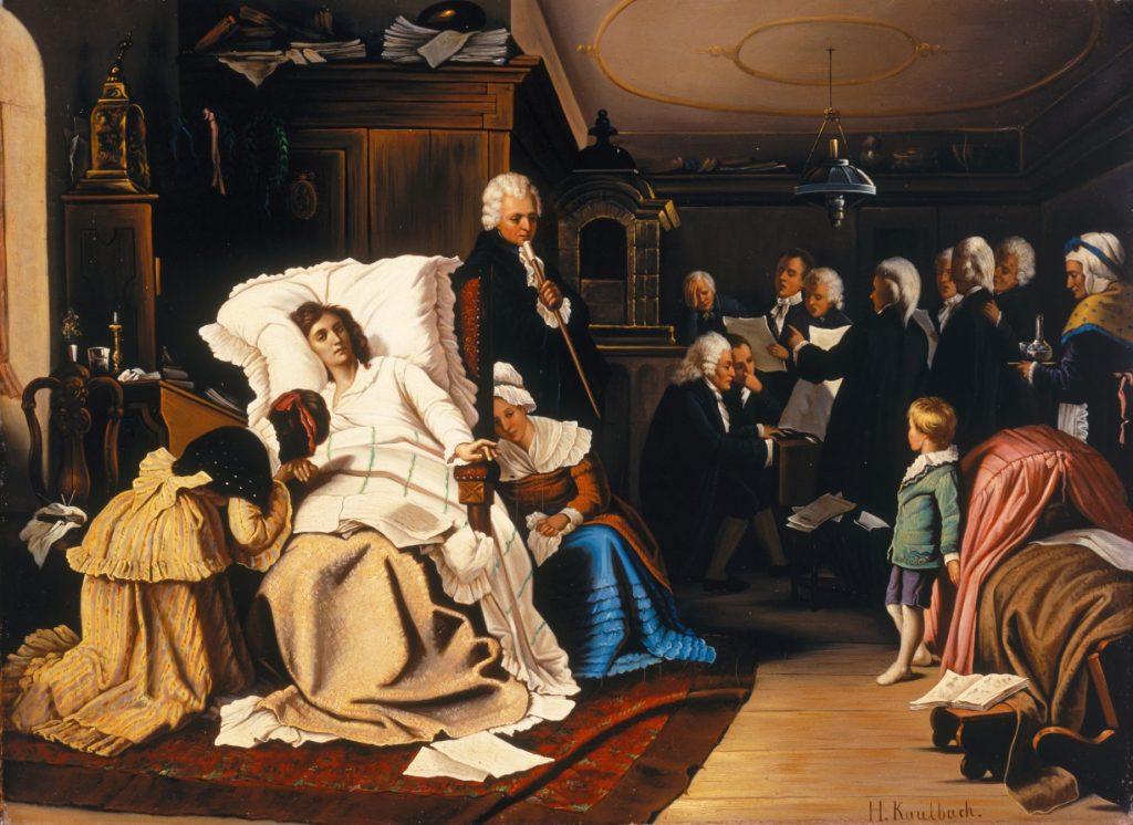 Hermann von Kaulbach (1846 – 1909), Les derniers jours de Mozart, 1873, huile sur toile.