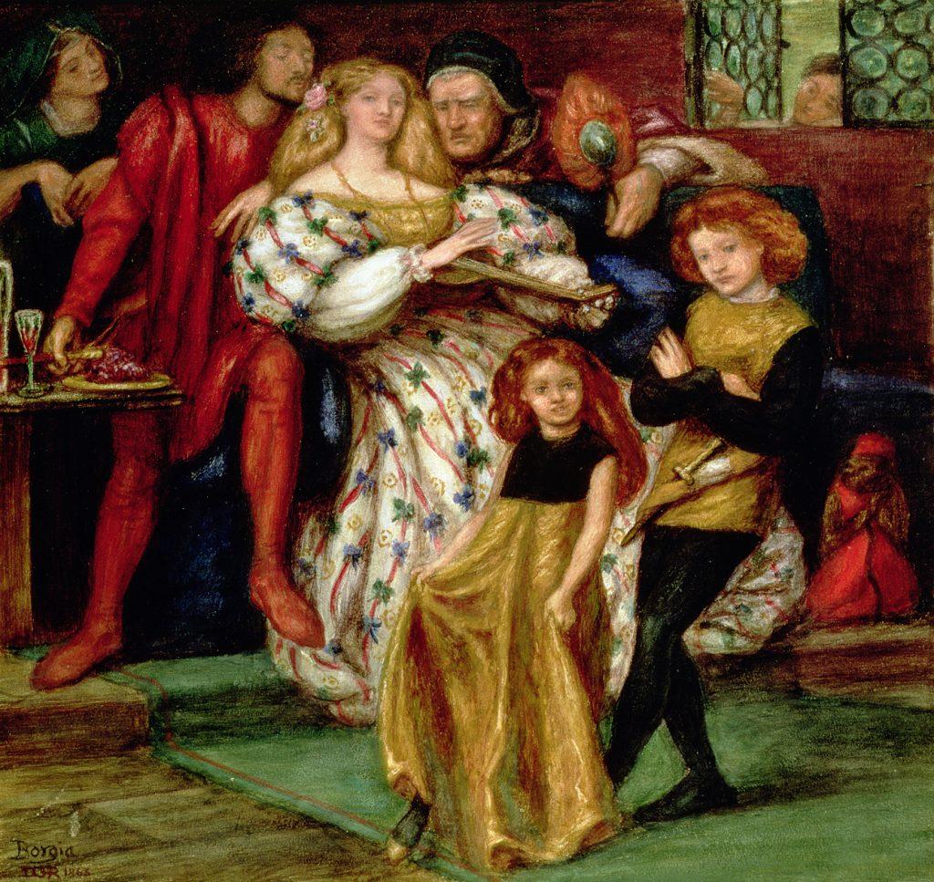 Dante Gabriel Rossetti (1828–1882), La famille Borgia, 1863, aquarelle, Victoria and Albert Museum.
