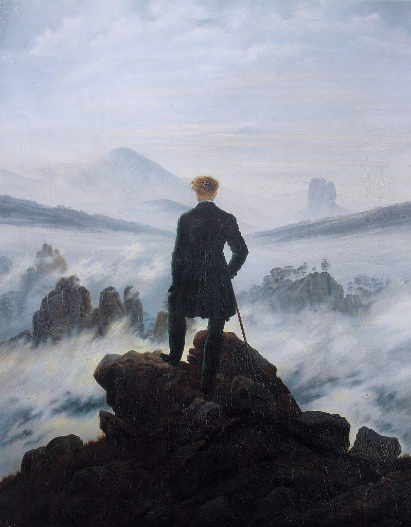 Caspar David Friedrich (1774–1840), Le voyageur au-dessus de la mer de nuages, vers 1817, huile sur toile, Kunsthalle Hamburg.
