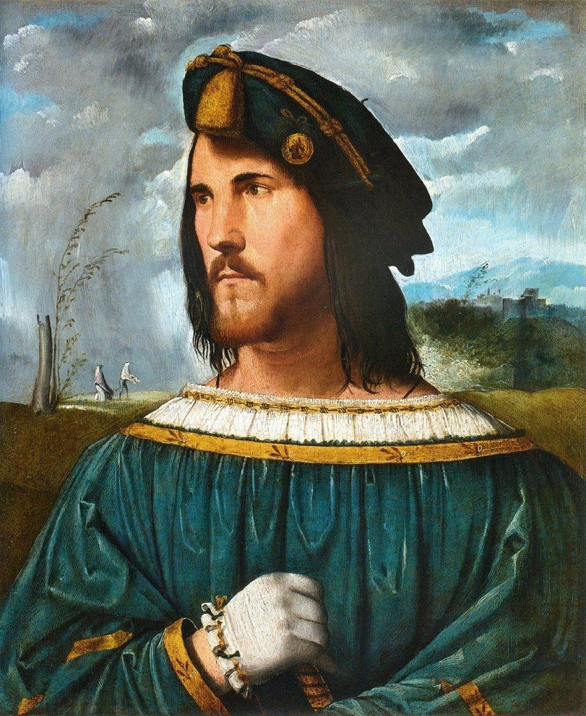 Portrait supposé de César Borgia par Altobello Melone (1491–1543), entre 1500 et 1524, huile sur panneau, Accademia Carrara.