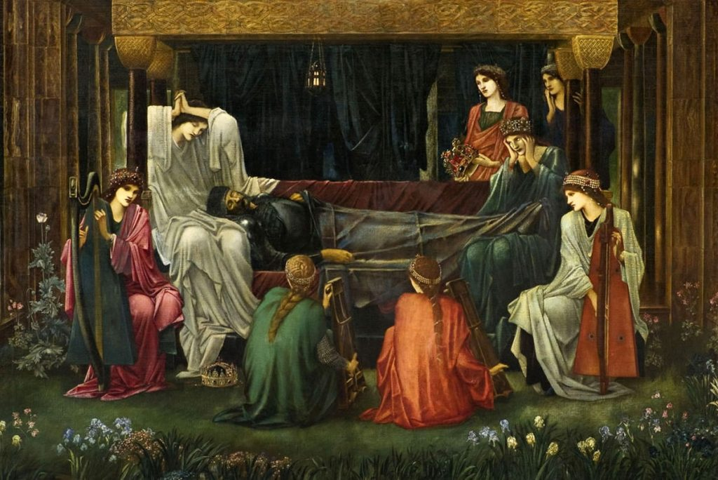 Edward Burnes-Jones (1833-1898), La dormition d'Arthur à Avalon, 1881-1898, Museo de Arte de Ponce.