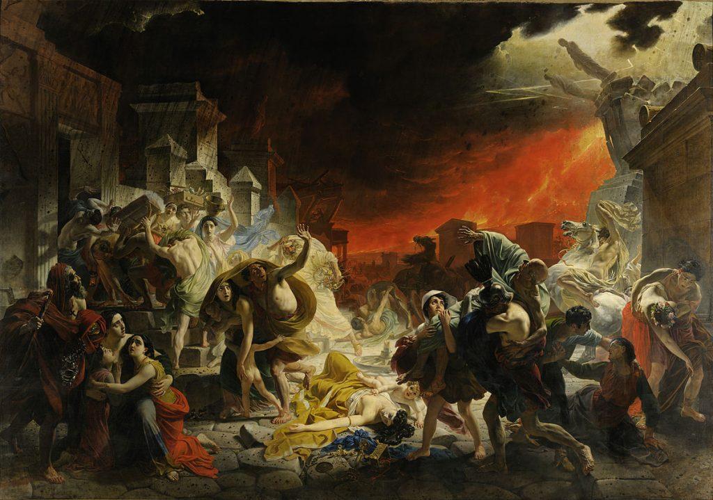 Karl Brioullov (1799–1852), Le Dernier Jour de Pompéi, 1830-1833, huile sur toile, Musée Russe, Saint-Pétersbourg (Russie).
