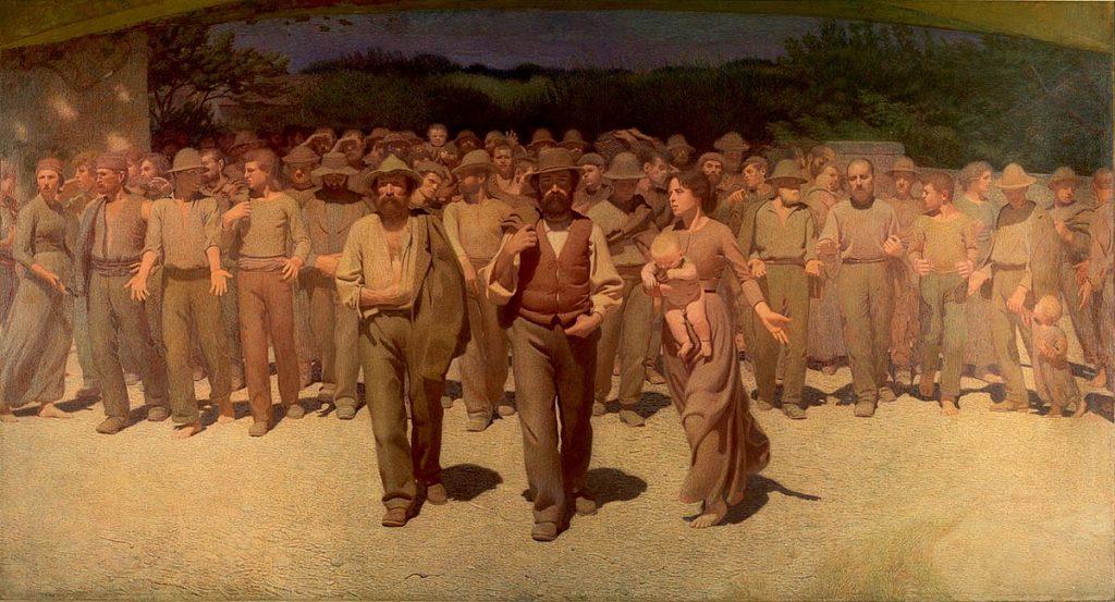 Giuseppe Pellizza da Volpedo (1868–1907), Il Quarto Stato (Le Quart-Etat), 1901, huile sur toile, Museo del Novecento.