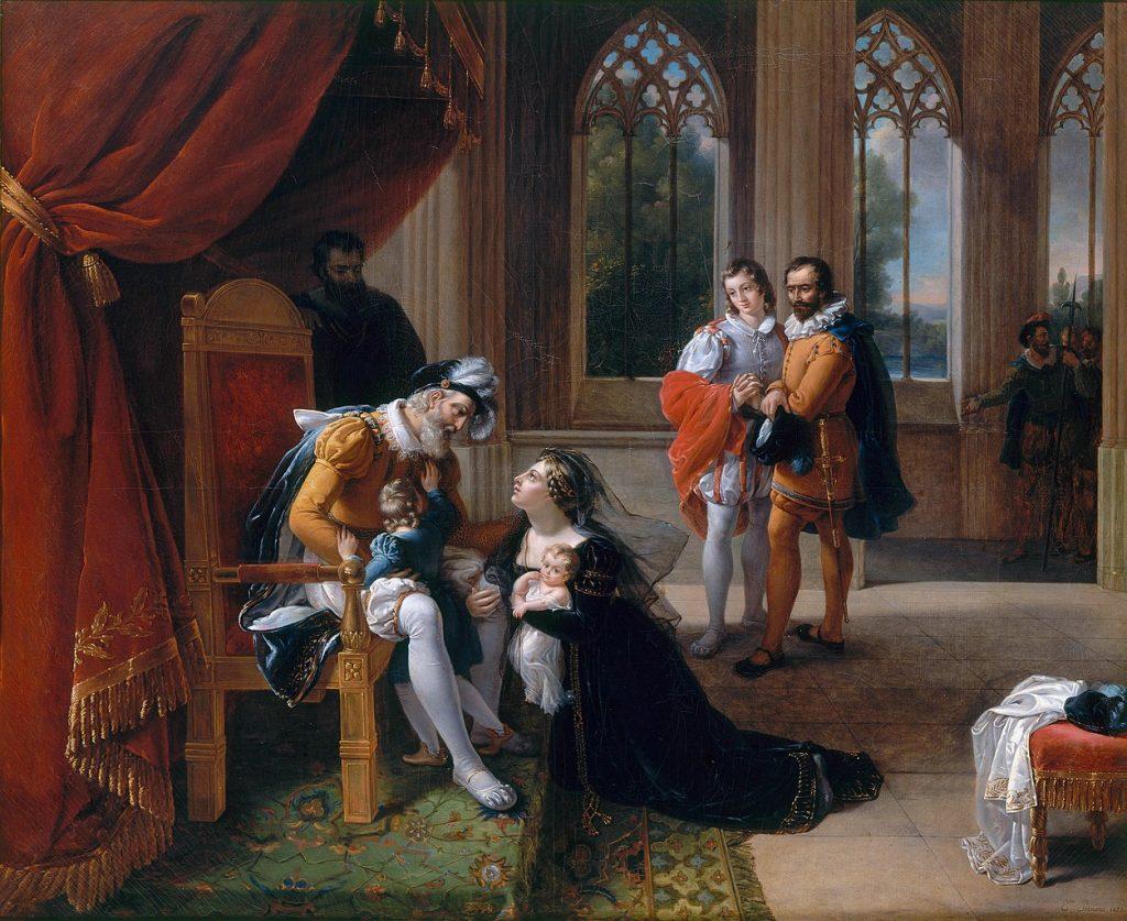 Eugénie Servières (1786-1855), Inès de Castro se jetant avec ses enfants aux pieds d'Alphonse IV roi de Portugal, pour obtenir la grace de don Pedro, son mari, 1822, huile sur toile, musée du château de Versailles.