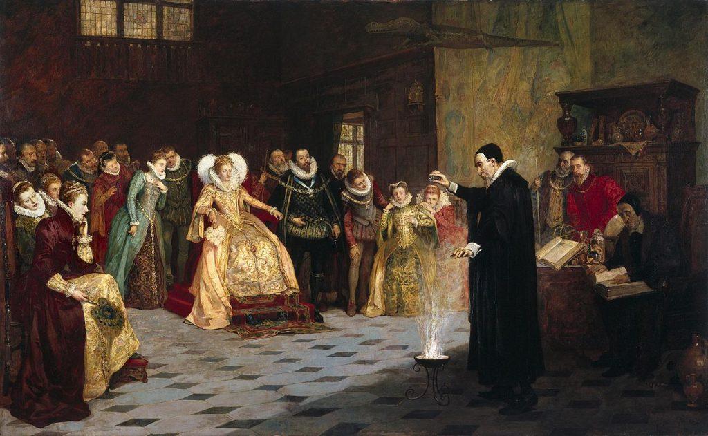 Henry Gillard Glindoni (1852–1913), John Dee effectuant une expérience devant la reine Élisabeth Ire, huile sur toile,Wellcome Library.