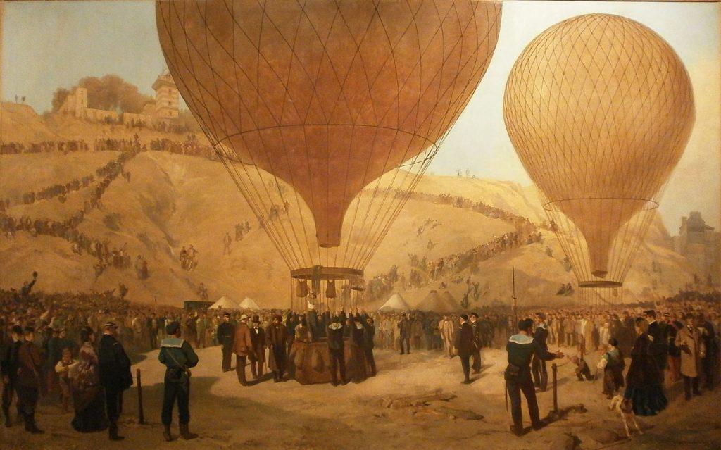 """Jules Didier (1831-1914) et Jacques Guiaud (1811-1876), Départ de Gambetta pour Tours sur """"l'Armand Barbès"""", le 7 octobre 1870, 1872, huile sur toile, musée Carnavalet."""