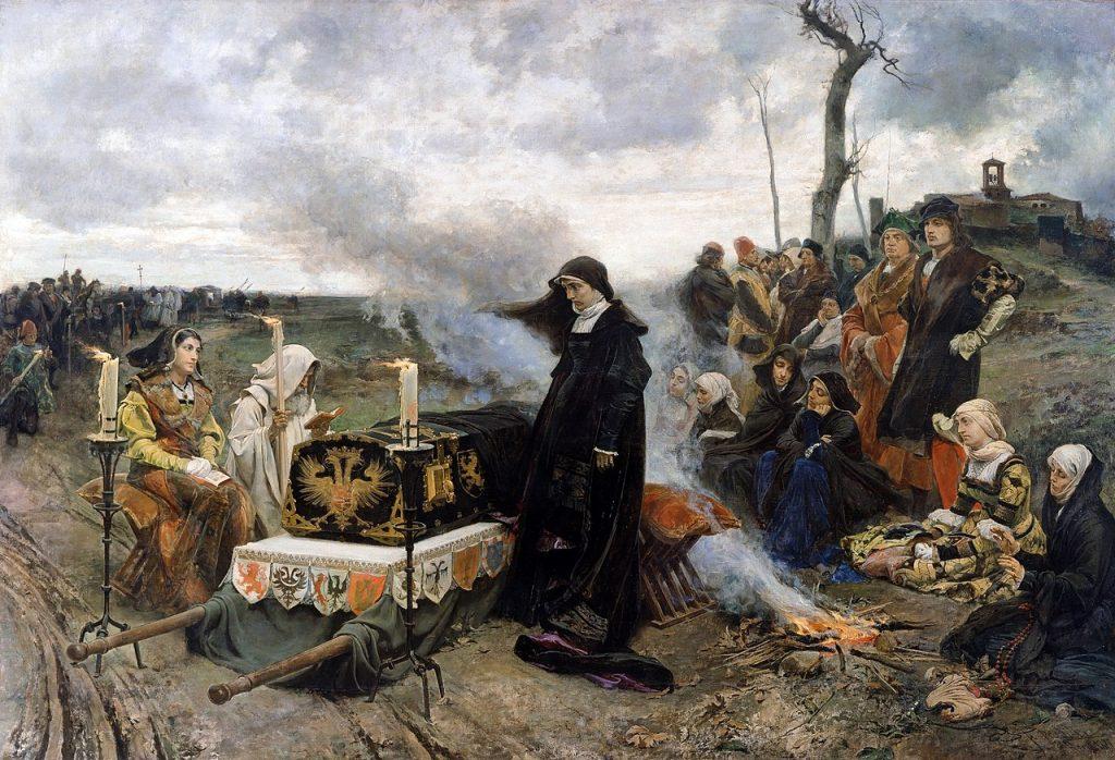 Francisco Pradilla Ortiz (1848–1921), Jeanne la Folle, 1877, huile sur toile, Musée du Prado.