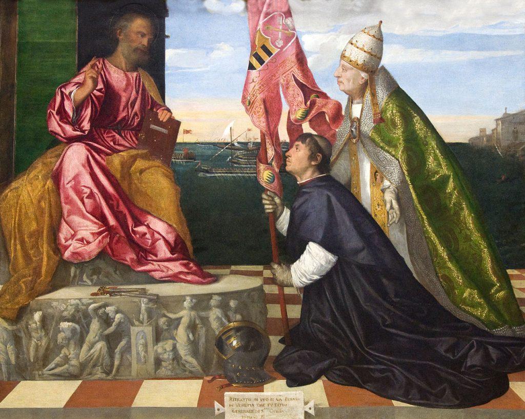 Titien (1477-1576), Jacopo Pesaro présenté à Saint-Pierre par le pape Alexandre VI, huile sur toile, Koninklijk museum voor schone kunsten, Anvers.