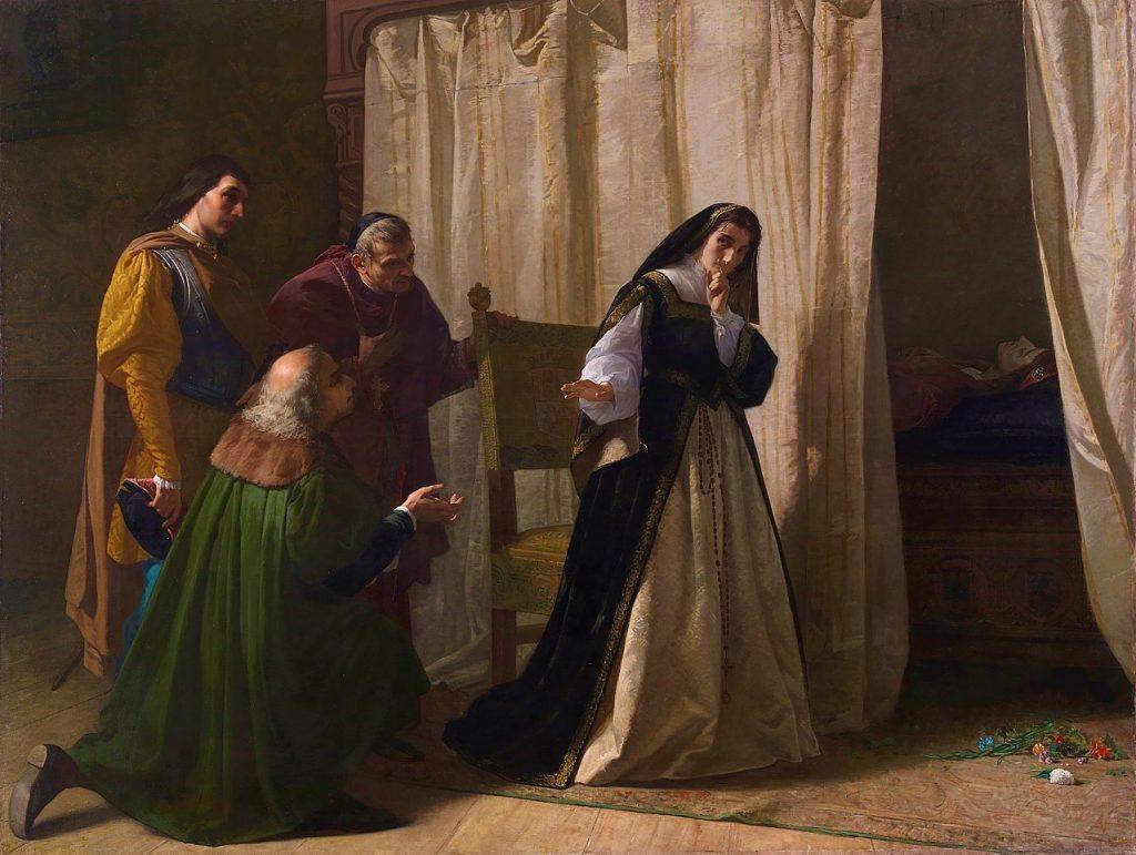 Lorenzo Valles (1831–1910), La démence de Jeanne la Folle, 1867, huile sur toile, Musée du Prado.