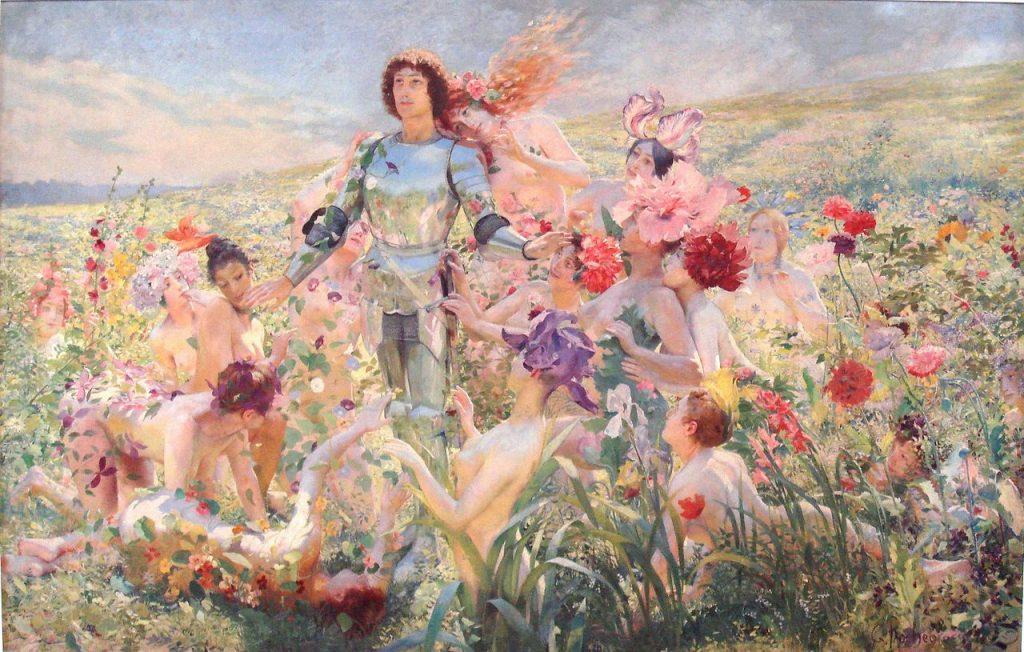 Georges Rochegrosse (1859–1938), Le chevalier aux fleurs, avant 1894, huile sur toile, Musée d'Orsay.