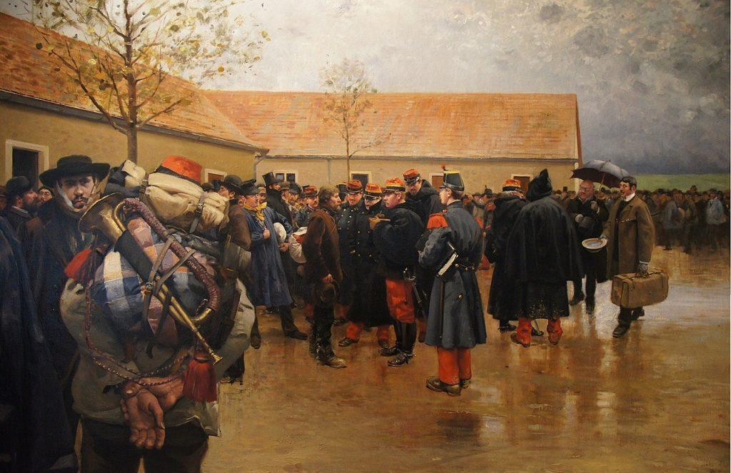 Pierre Georges Jeanniot (1848–1934), Réservistes de 1870,1882, huile sur toile,hôtel des Invalides, Paris.