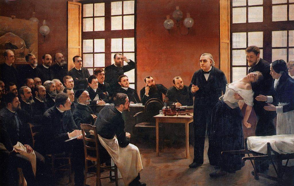 André Brouillet (1857-1914), Une leçon clinique à la Salpêtrière, 1887, huile sur toile, Université Paris Descartes.