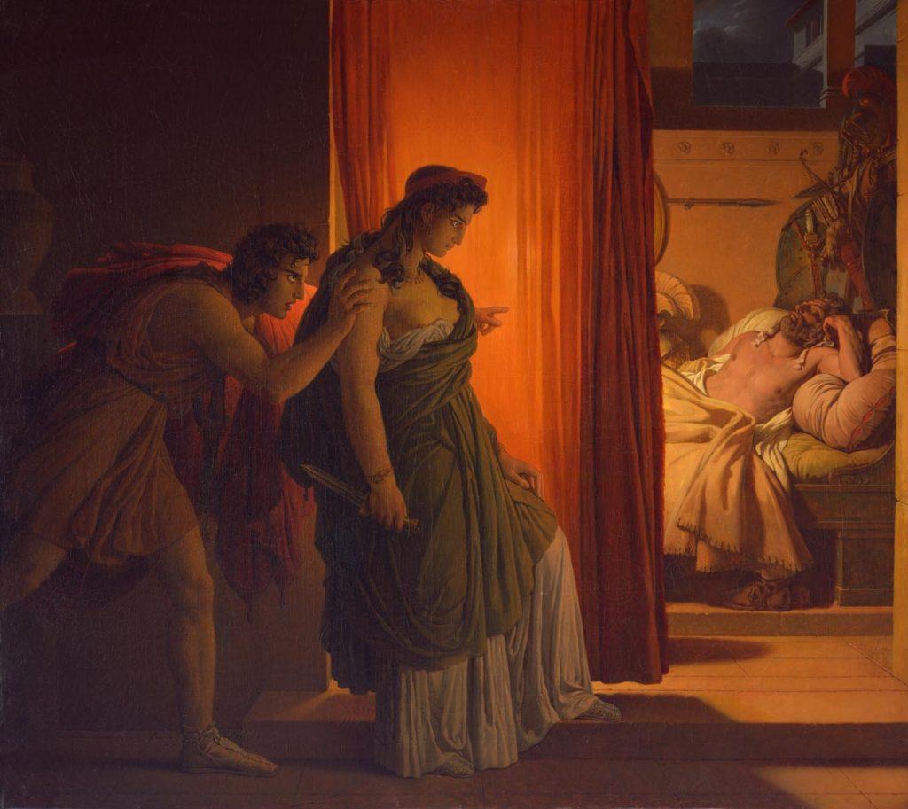 Pierre-Narcisse Guérin (1774-1833), Clytemnestre hésitant avant de frapper Agamemnon endormi, 1817, huile sur toile, Musée du Louvre.