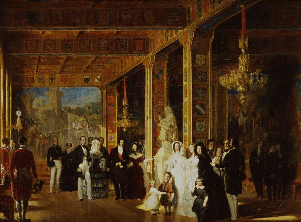 Louis-Philippe, la famille royale et le roi Léopold Ier visitant la grande salle des Croisades en juillet 1844, Prosper Lafaye (1806-1883), 1845, huile sur toile, musée du château de Versailles.