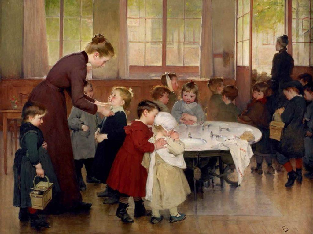 Henri Jules Jean Geoffroy, dit Géo (1853 - 1924), L'école maternelle, 1898,musée de l'échevinage, Saintes.