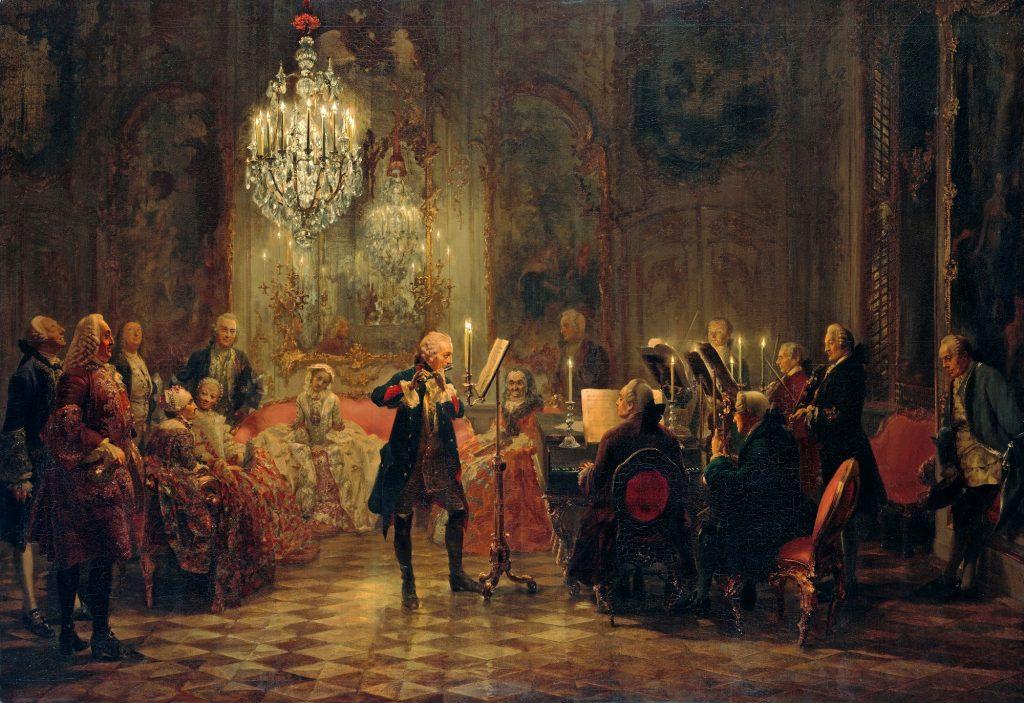 Adolph von Menzel (1815-1905), Concerto de flûte au palais de Sanssouci, 1852, huile sur toile, Alte Nationalgalerie.