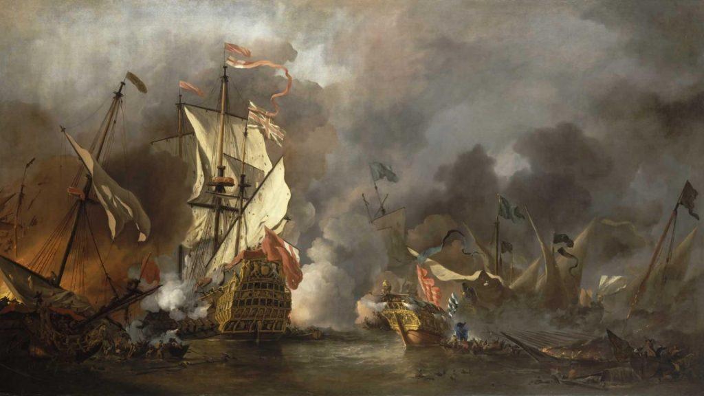Willem van de Velde le Jeune ( 1633–1707), Un bateau anglais en action avec un vaisseau de Barbarie, 1678, huile sur toile, National Maritime Museum, Greenwich, London, Caird Collection.