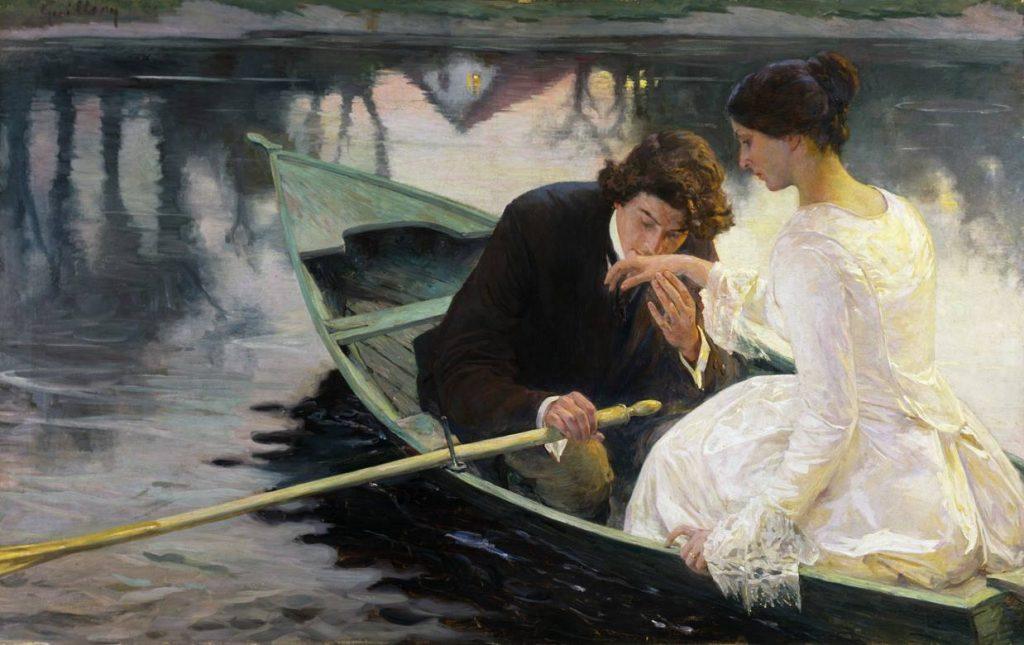 Franz Paul Guillery (1862-1933) ,Im Kahn,date inconnue,huile sur toile.