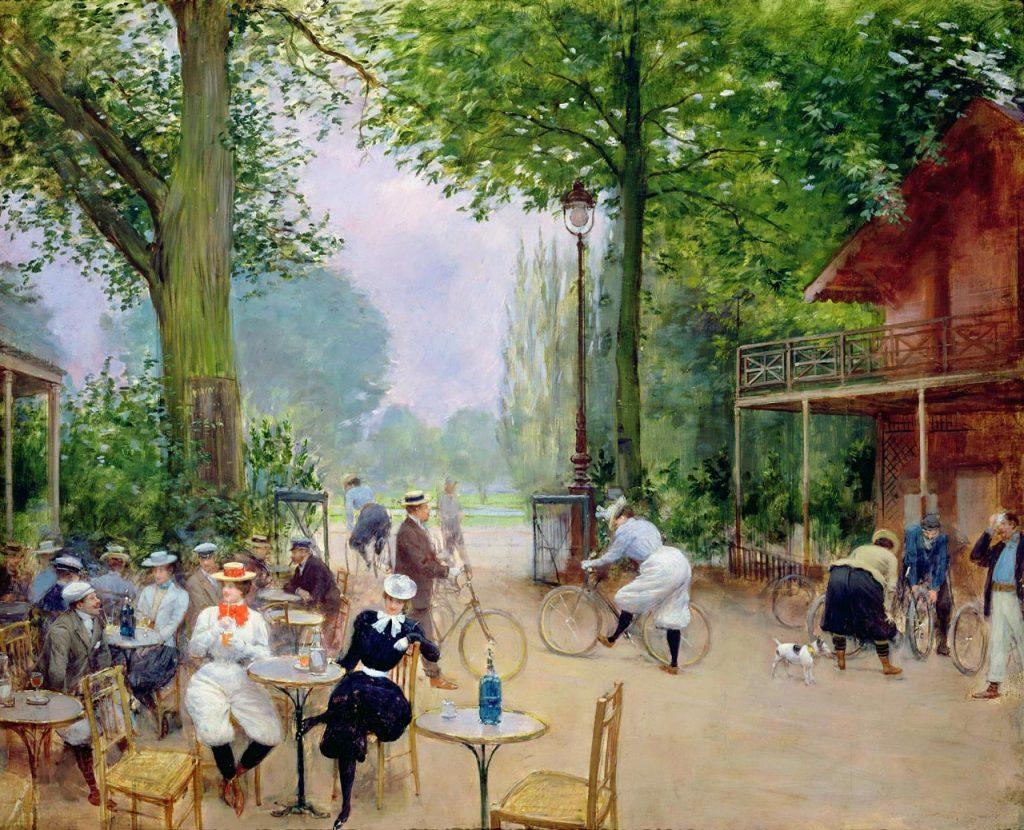 Jean Béraud (1848-1935), Le Chalet du cycle au bois de Boulogne, v.1900, huile sur toile, Musée Carnavalet.