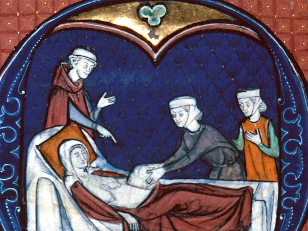 Enluminure médiévale représentant une césarienne réalisée par une physicienne.