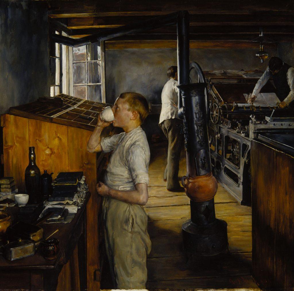 Charles Frederic Ulrich (1858–1908), L'imprimerie du village à Haarlem, pays-Bas, 1884, huile sur panneau de bois,Terra Museum of American Art.