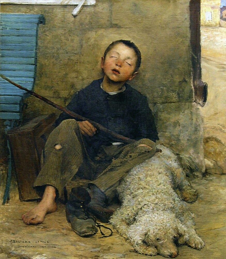 Jules Bastien-Lepage, Le Petit Colporteur endormi, 1882, huile sur toile, Musée des beaux-arts, Tournai.