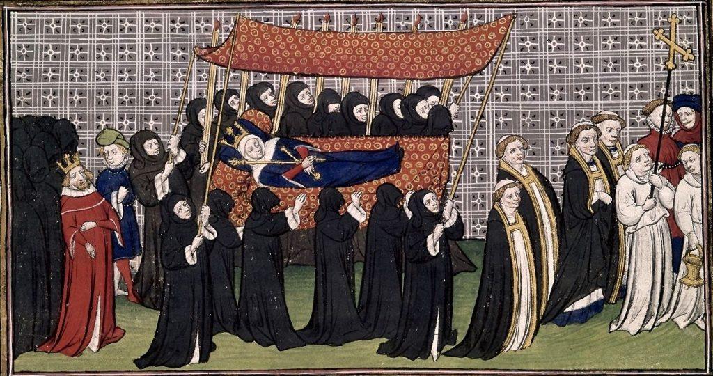 Funérailles de la reine Jeanne de Bourbon avec le roi Charles V. Enluminure, chroniques de France ou de Saint-Denis. Fin du XIVème siècle.