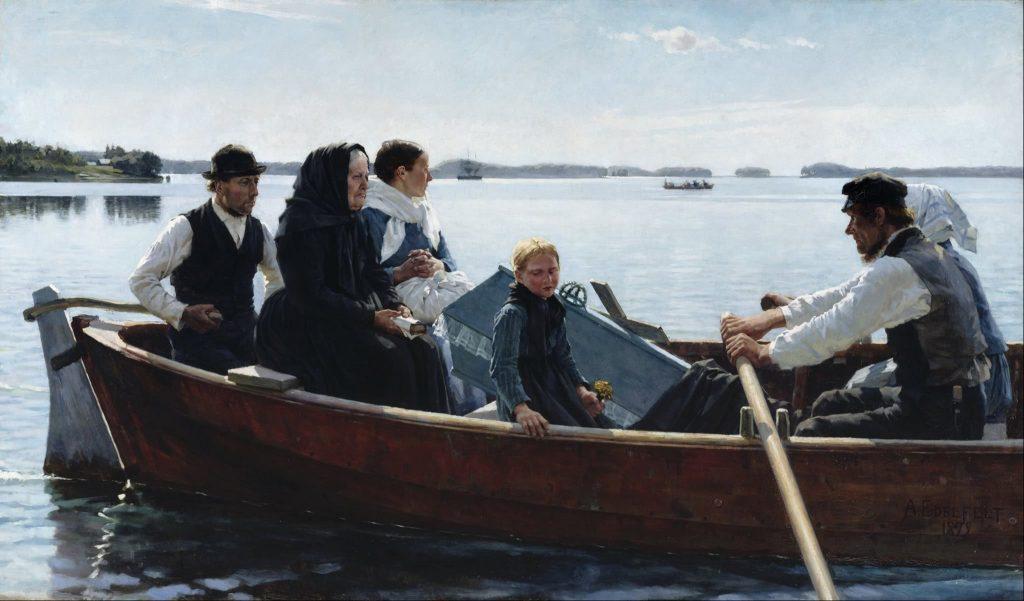 Albert Edelfelt (1854-1905), Les funérailles de l'enfant, 1879, huile sur toile, Ateneum.
