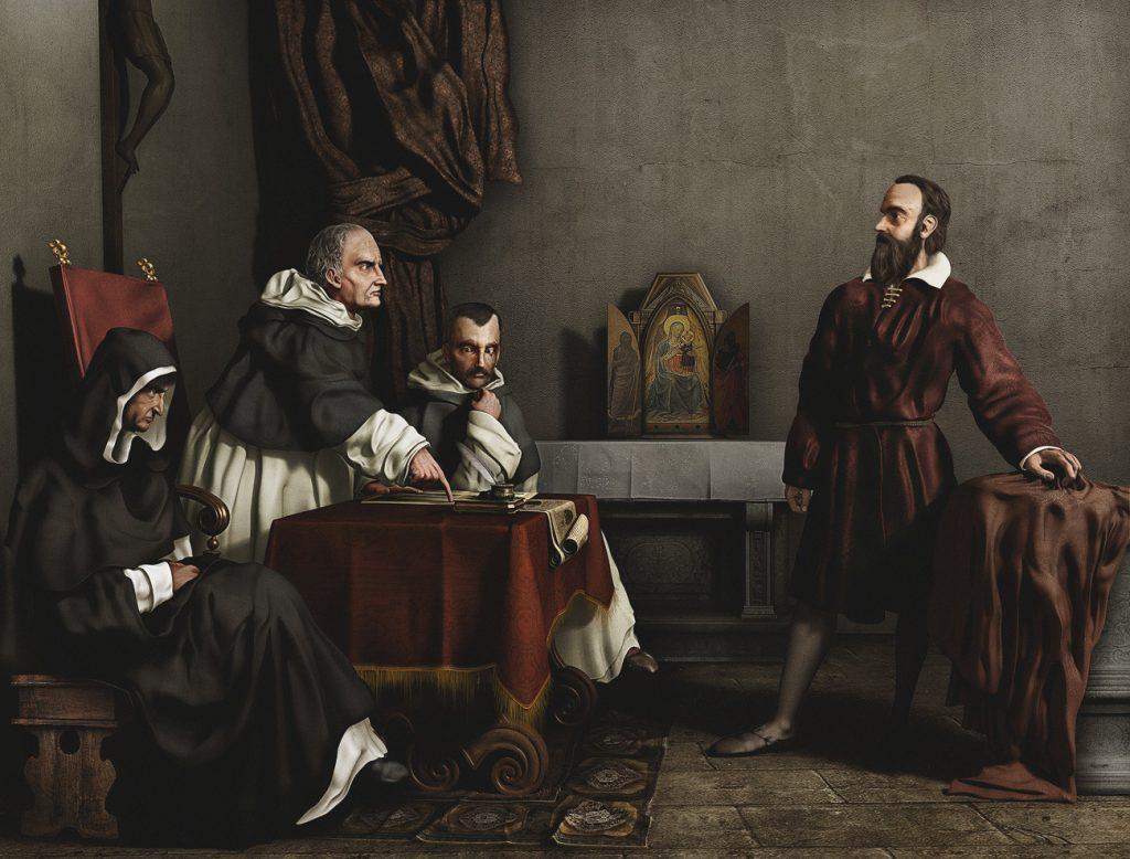 Cristiano Banti (1824–1904), Galilée face à l'Inquisition romaine, 1857, huile sur toile, collection privée.