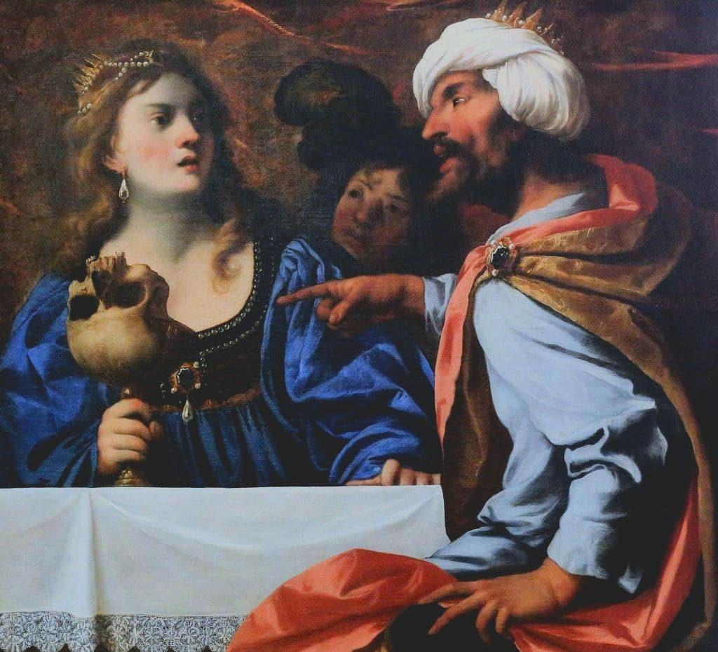 Pietro della Vecchia (1602/1603–1678), Rosemonde forcée à boire dans le crâne de son père, entre 1650 et 1660, huile sur toile, musée des beaux-arts et d'archéologie de Lons-le-Saunier.
