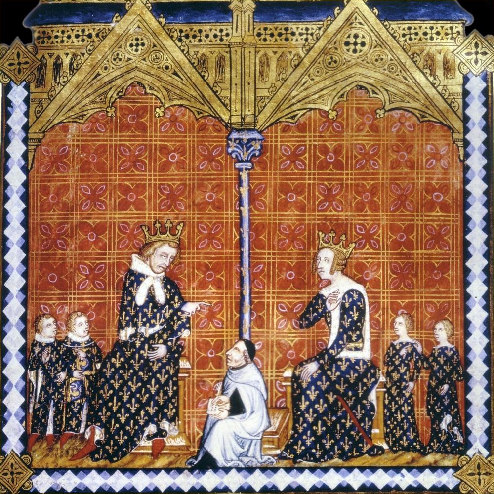 """Charles V et Jeanne de Bourbon, roi et reine de France, avec leurs enfants Charles, Louis, Marie et Isabelle, en 1374. Miniature du """"Rational des divins offices"""" du Frère Jehan Golem, carme, que l'on voit au centre."""
