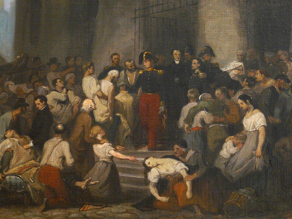 Alfred Johannot (1800-1837), Le duc d'Orléans visitant les malades de l'Hôtel-Dieu pendant l'épidémie de choléra, en 1832, 1832, huile sur toile, musée Carnavalet.