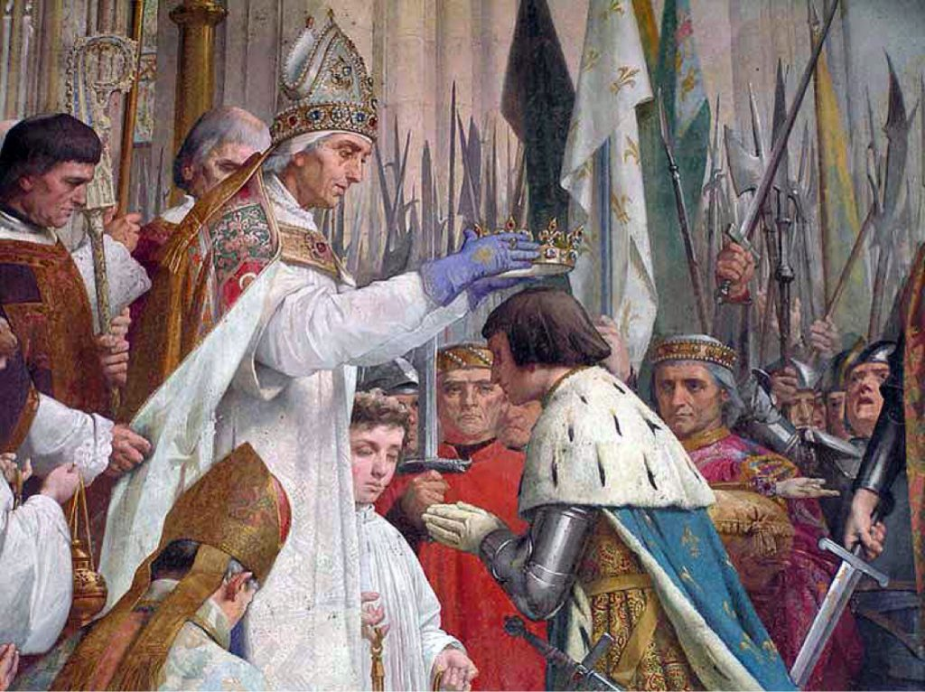Jules Eugène Lenepveu (1819–1898), Sacre de Charles VII à Reims par l'archevêque Charles de Chartres (détail), 1889-1890, Panthéon de Paris.