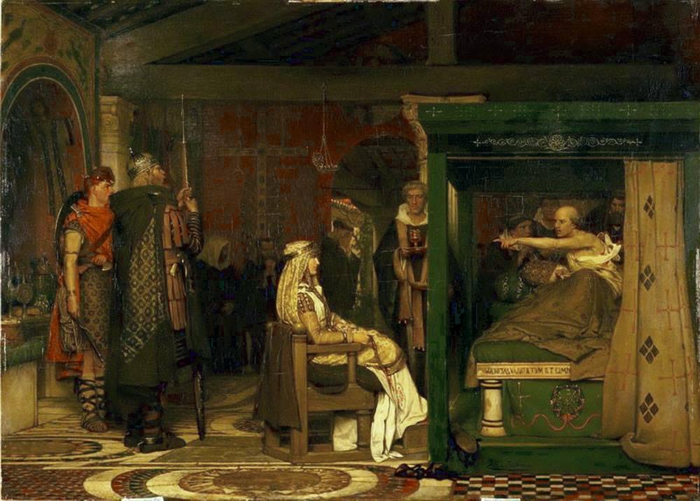 Lawrence Alma-Tadema (1836–1912), Frédégonde devant le lit de mort de l'évêque de Rouen Prétextat, date inconnue, huile sur toile, collection privée.