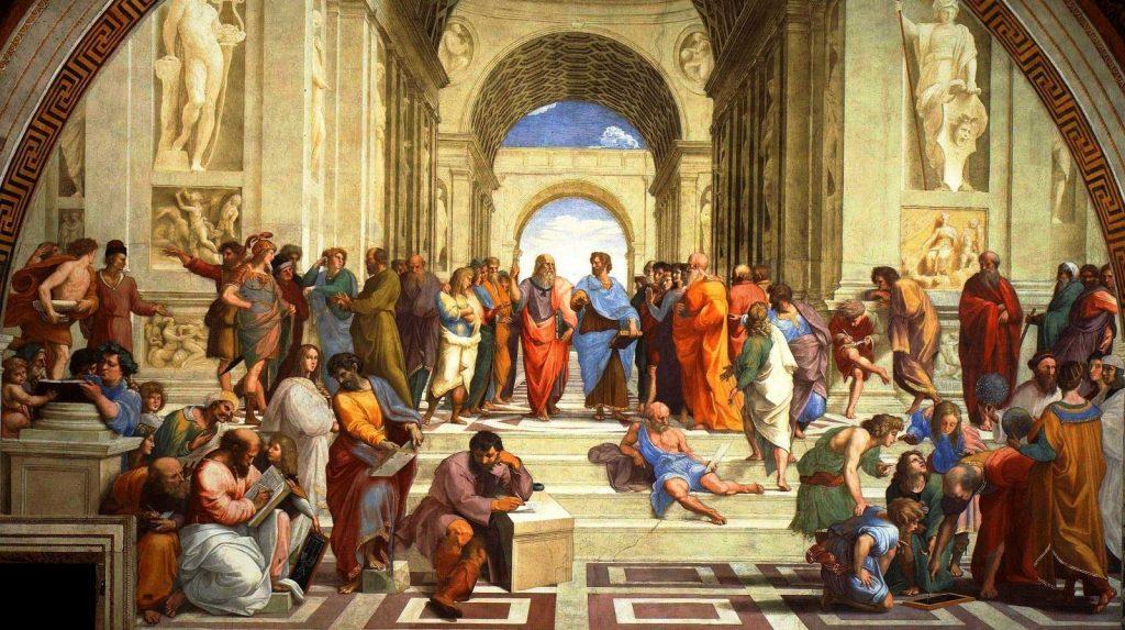 Raphaël (1483-1520), L'école d'Athènes, 1509-10, fresque, Palais du Vatican.