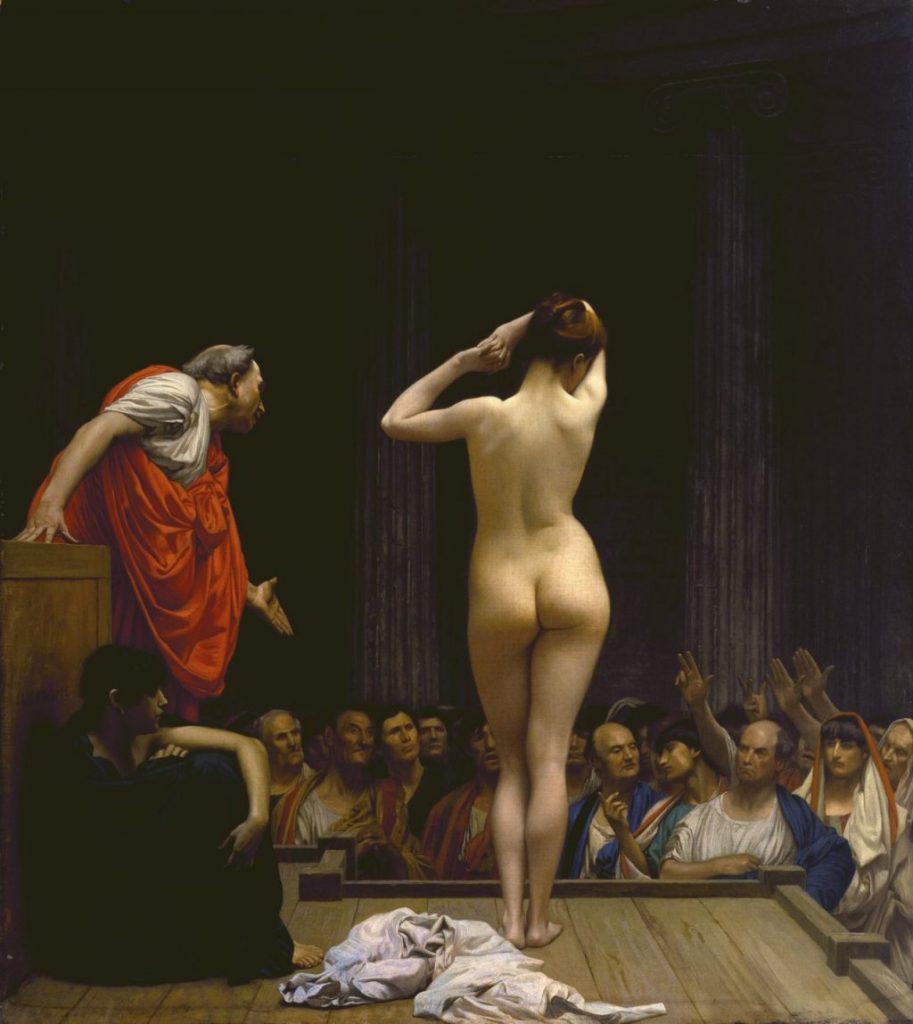 Jean-Léon Gérôme (1824-1904), Marché romain aux esclaves, 1884 env, huile sur toile,Walters Art Museum.