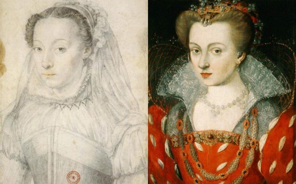 A gauche: portrait de Marie de Clèves (1553-1574) par François Clouet, 1571. A droite : portrait de Louise de Lorraine (1503-1601) par Jean Rabel, 1575, huile sur panneau, musée Czartoryski.