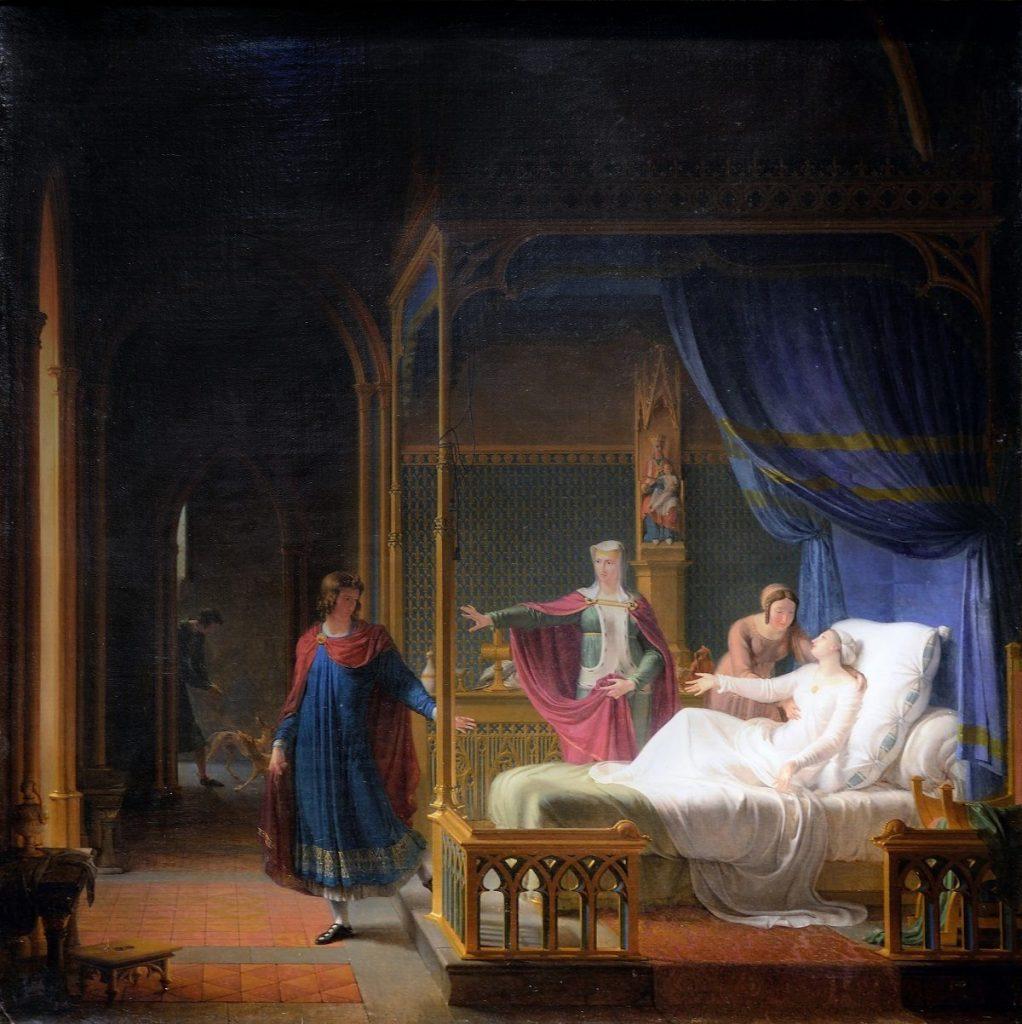 Fleury François Richard (1777–1852), La Déférence de saint Louis pour sa mère, 1808, huile sur toile, château d'Arenenberg.