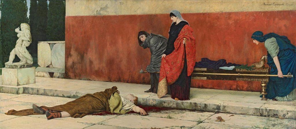 Vassili Smirnov (1858-1890), La mort de Néron, 1899, huile sur toile, musée russe de Saint-Pétersbourg.