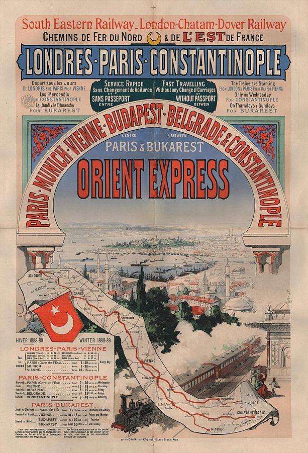 Publicité d'époque de l'Orient-Express, 1888