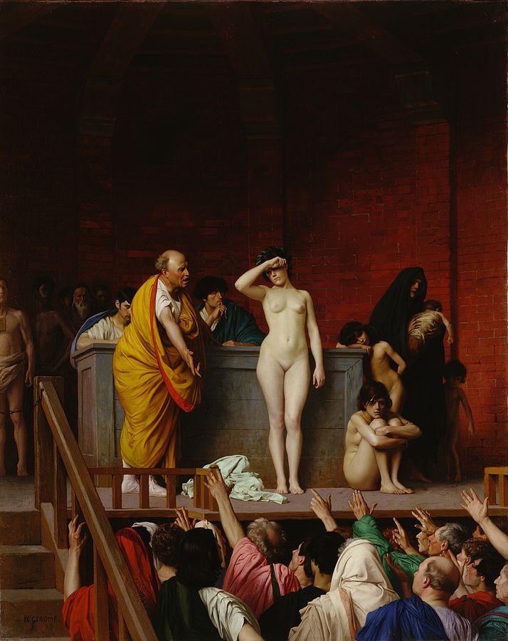Jean-Léon Gérôme (1824–1904), Vente d'esclaves à Rome, 1884, huile sur toile, Musée de l'Ermitage, Saint-Pétersbourg.